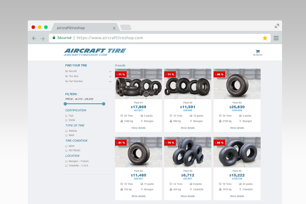 Aircraft Tire Shop product list
