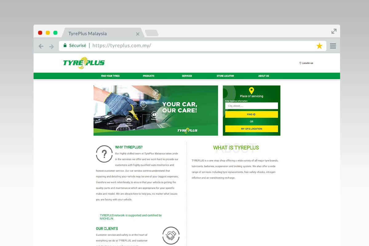 Page d'accueil du site Tyreplus Malaisie