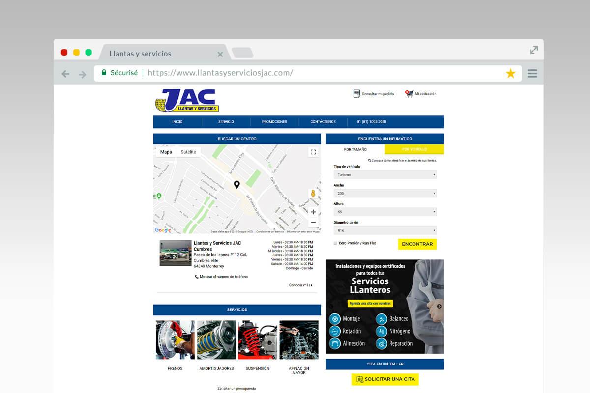 Page d'accueil du site Llantas y servicios