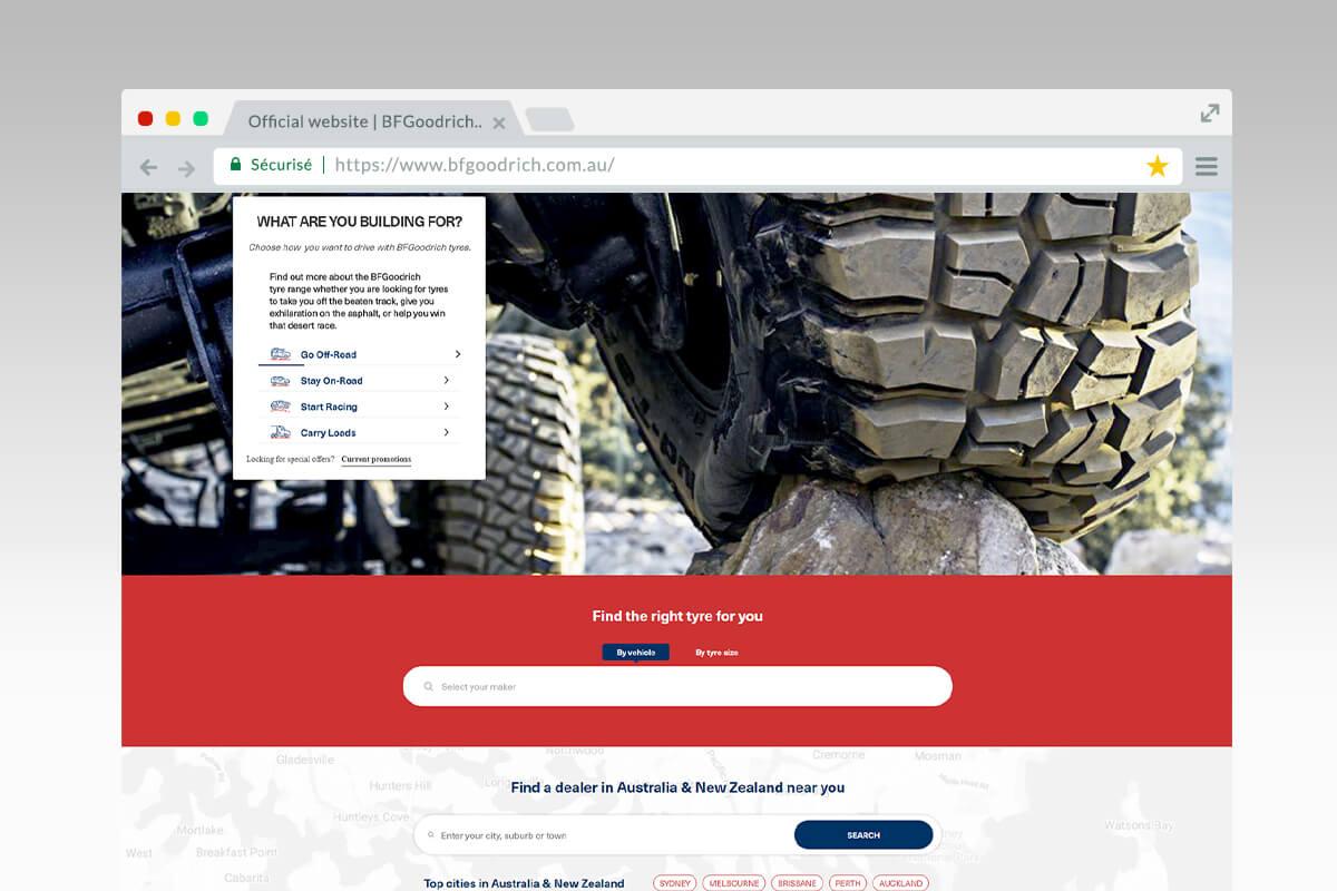 Tireselector universel du site BFGoodrich Australie
