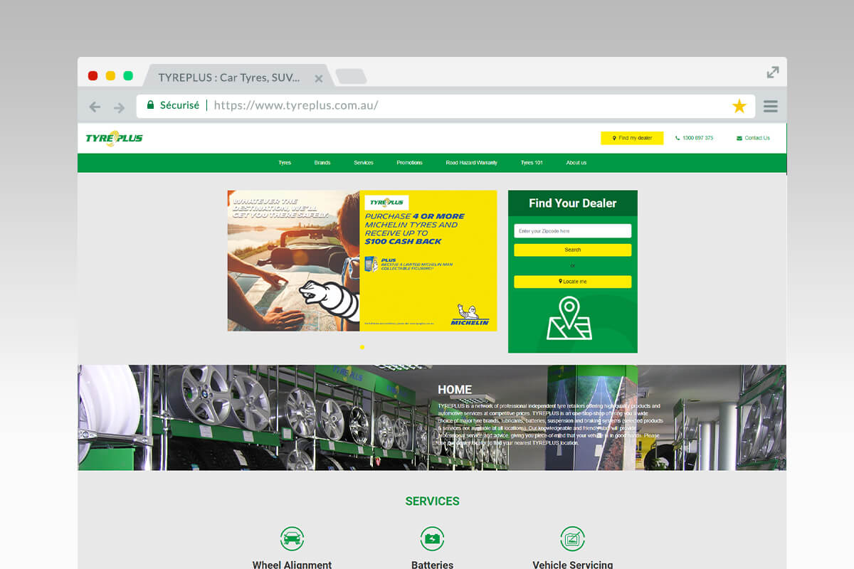 Home du site Tyreplus Australie