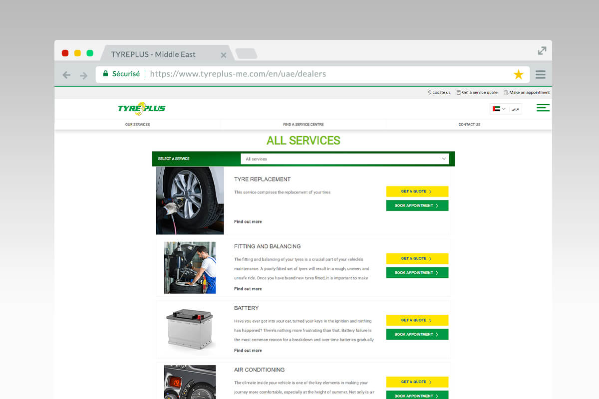 Tyreplus Middle-East services list