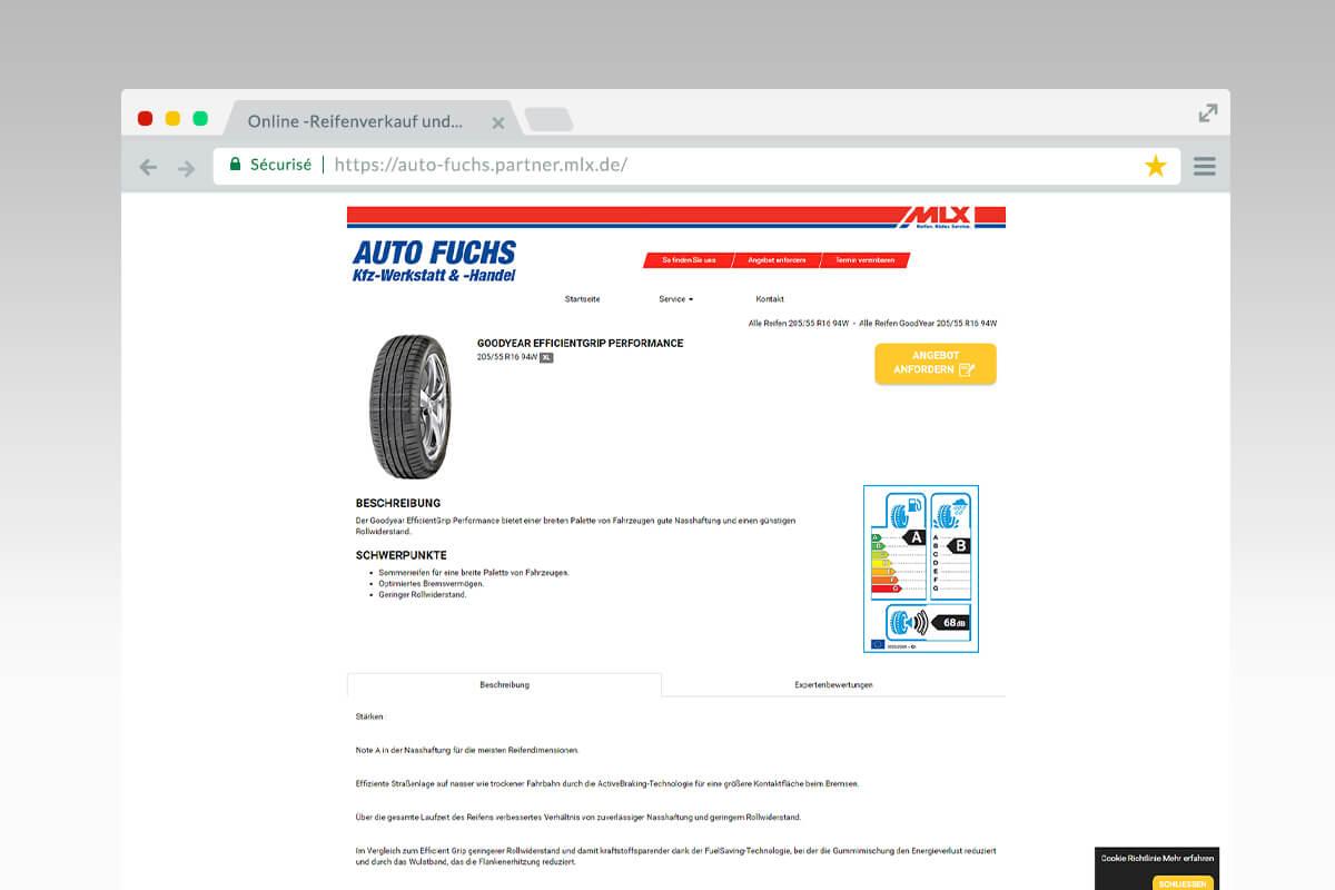 Page de detail Auto Fuchs - Reseaux MLX