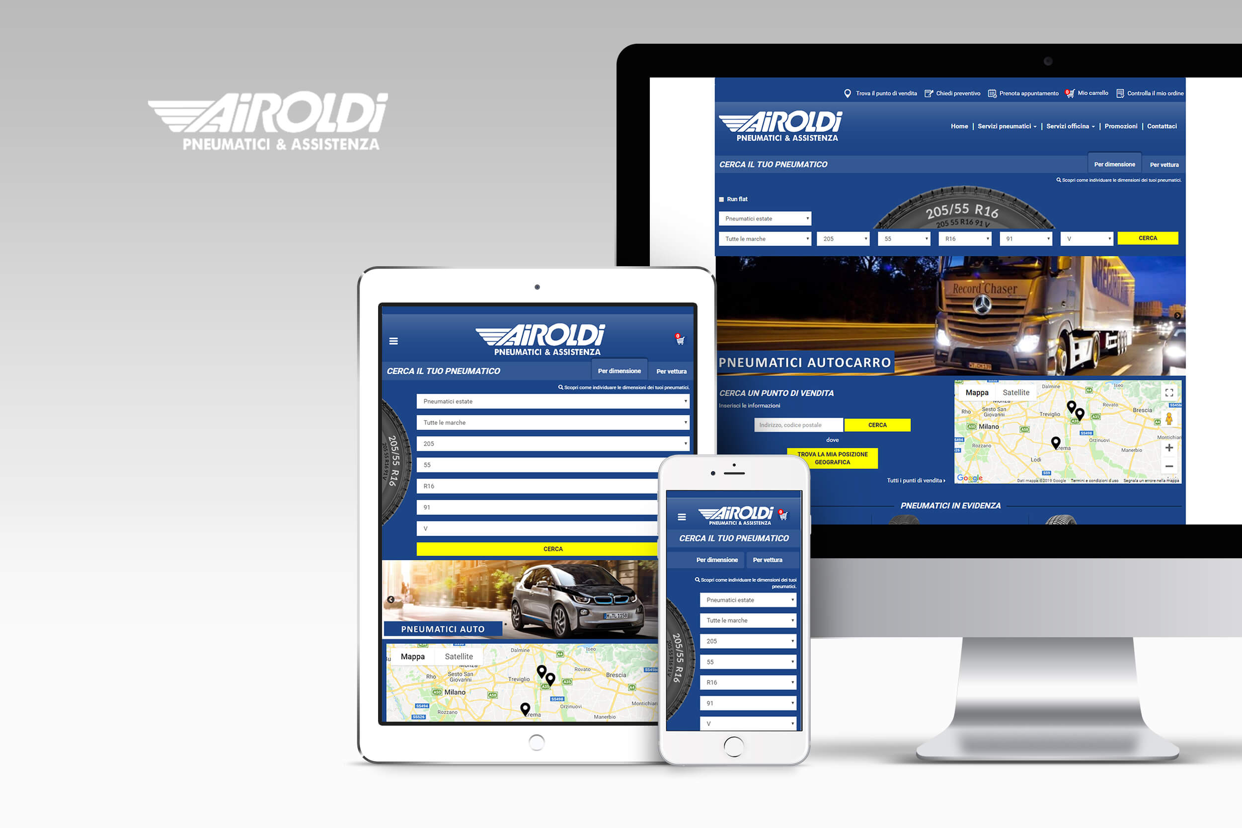 Page d'accueil du site Airoldi Pneumatici