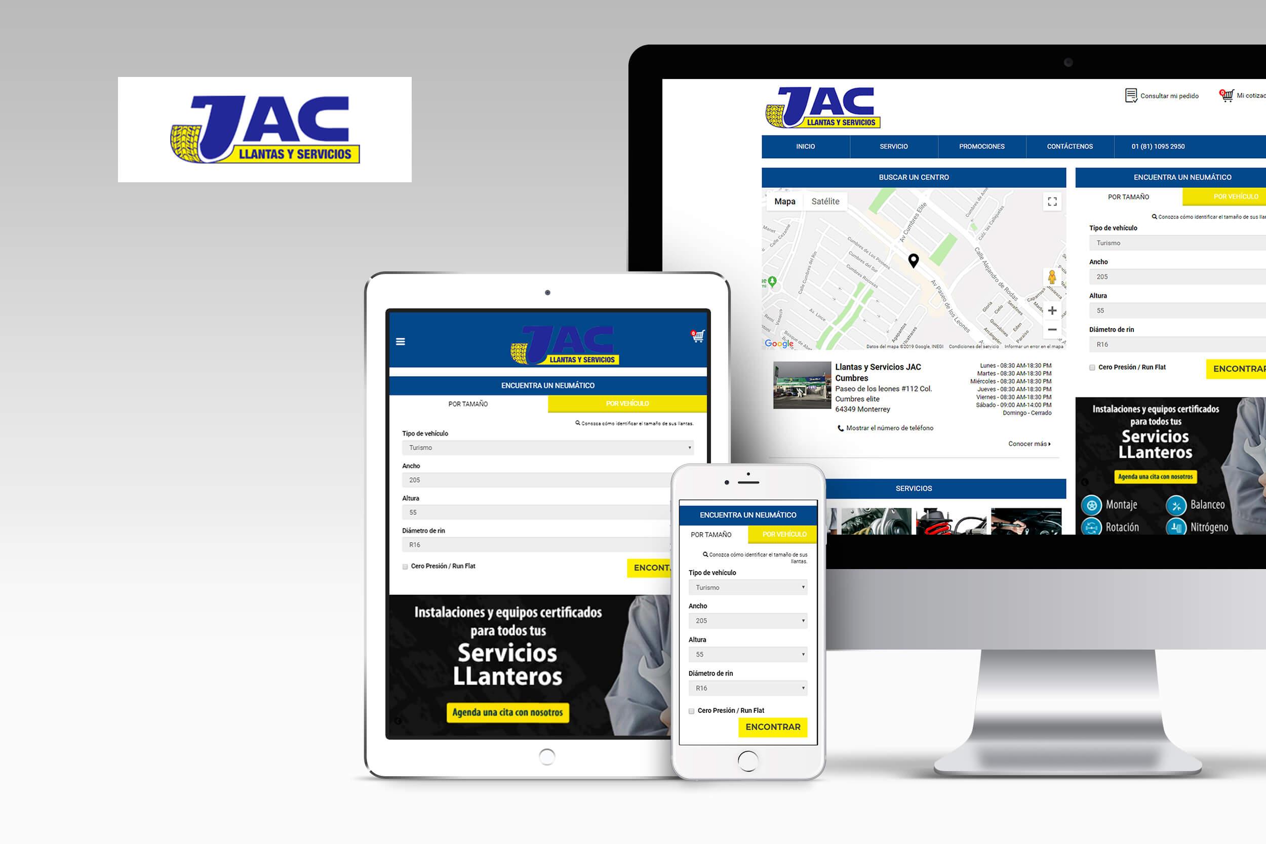 Home page du site Llantas y servicios