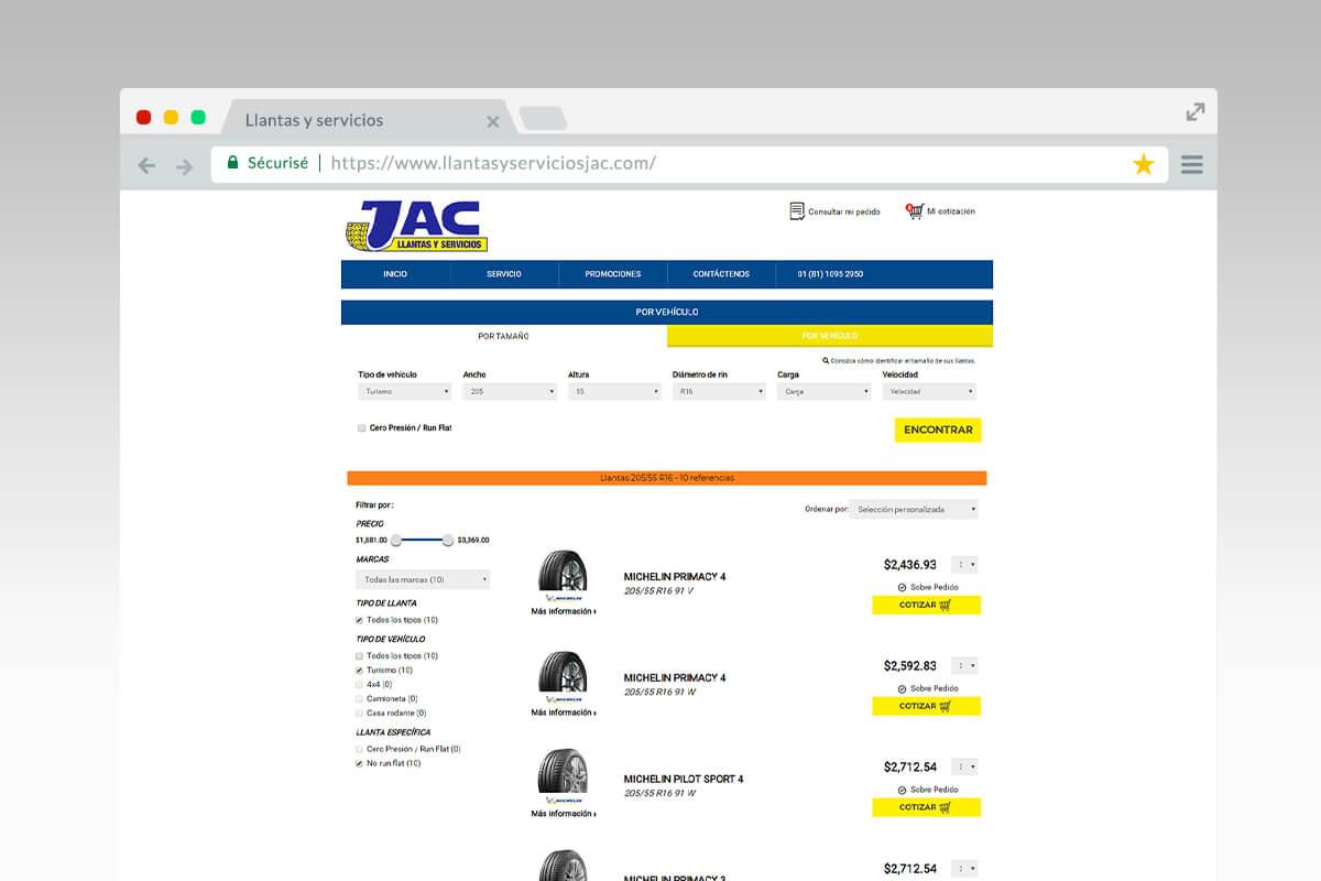 results page - Llantas y servicios