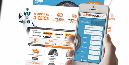 Page d'accueil du site Allopneus Belgique