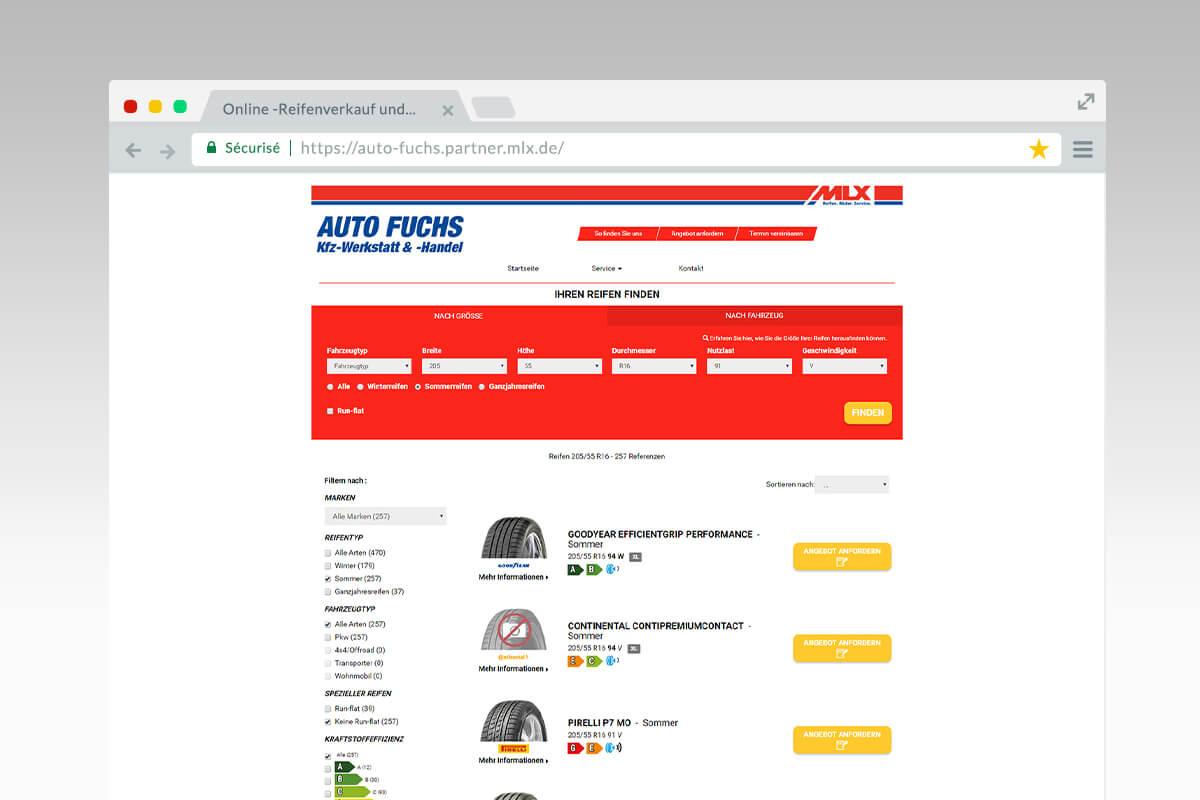 Page de resultat du site Auto Fuchs