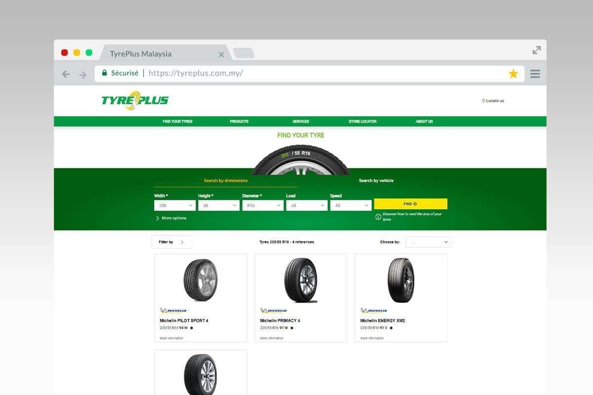 Tyreselector du site Tyreplus Malaisie
