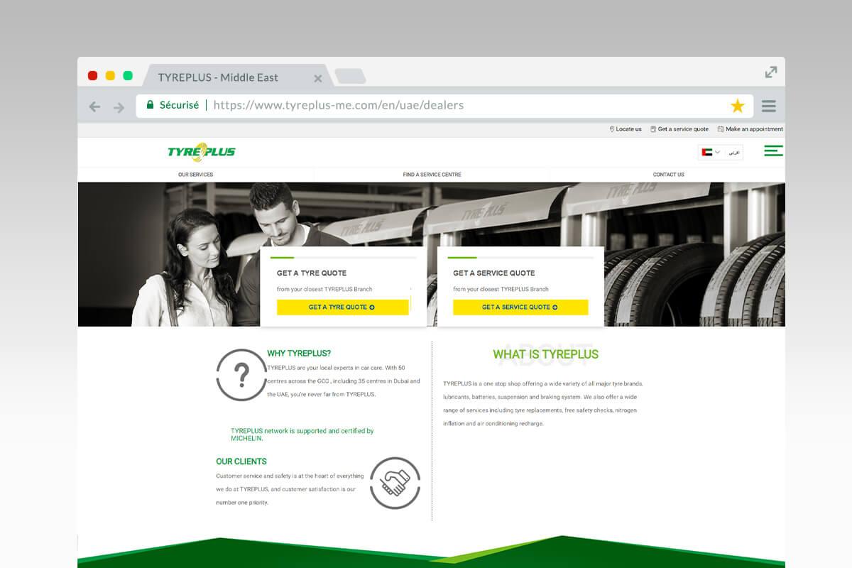Page d'accueil du site tyreplus Middle East