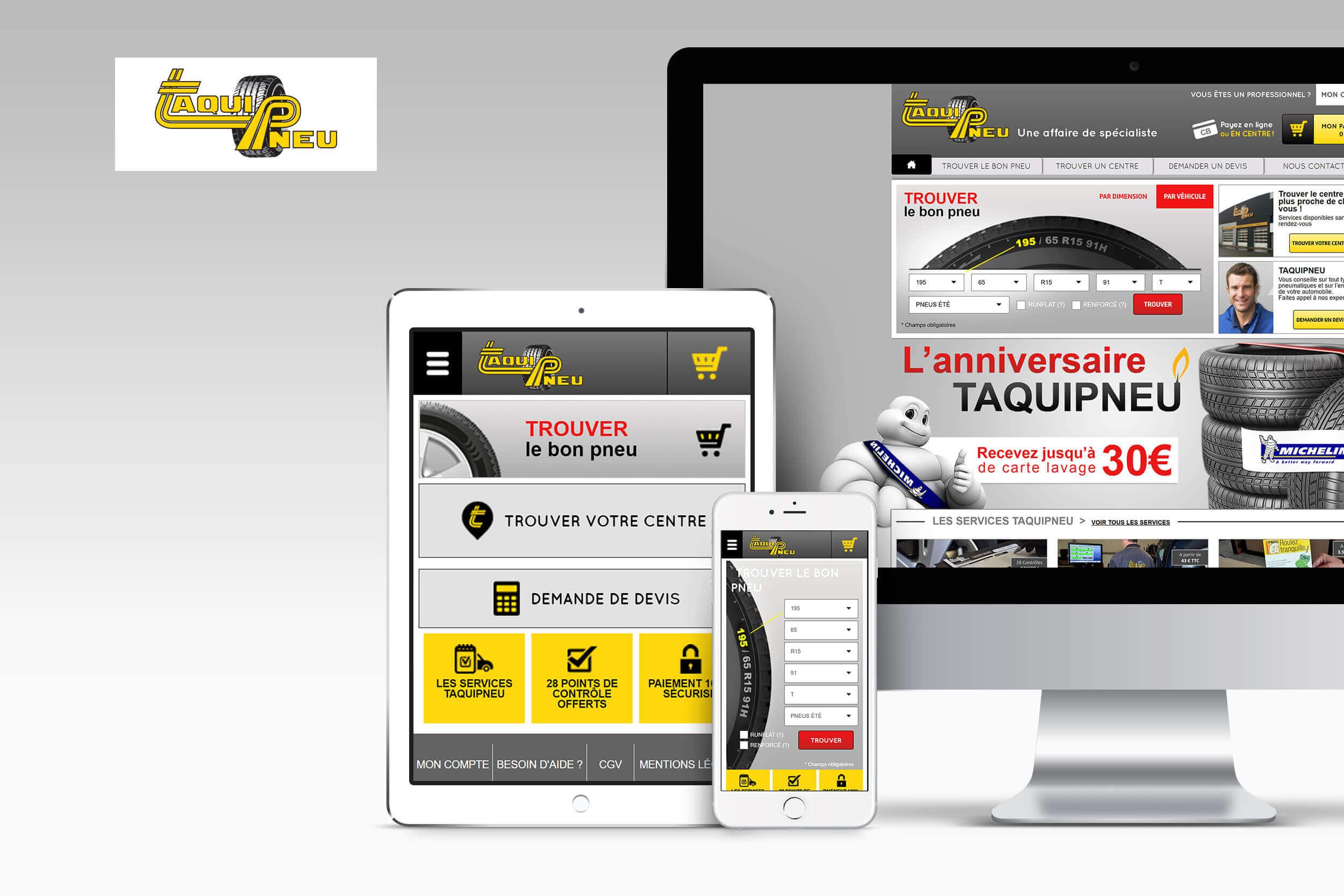 Page d'accueil du site Taqui pneu